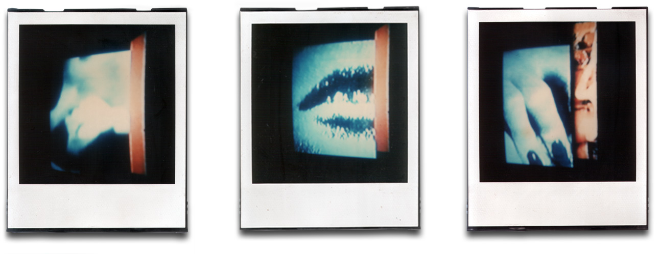 Andre Werner TV blue triptych, SX70,polaroid, 1988