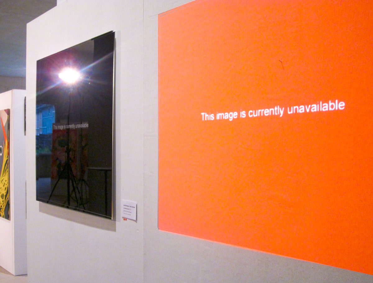 """Julia Murakami/Alan Smithee, Lost Masterpieces #1 and #2 (red), 31.5"""" x 27.6"""" , 2010, ed. of 3/2 AP at the c.a.r. contemporary art Ruhr art fair 2010."""