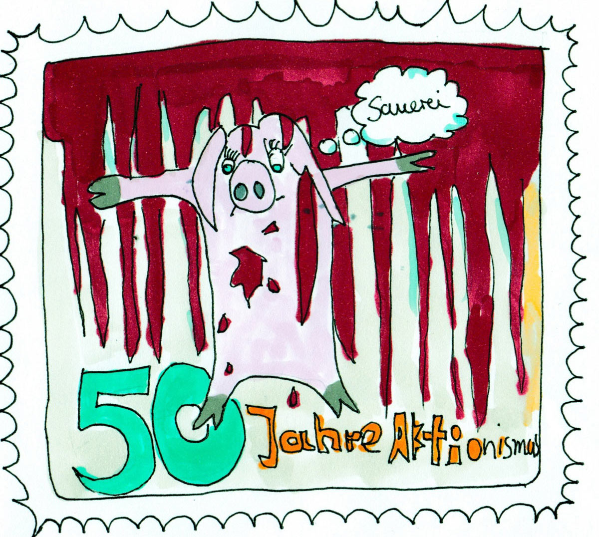 Encounters On Travel. Cosima Reif, 50 Jahre Aktionismus, 50 years of (Viennese) Actionism, stamp from the Austrian Pure Chance Postal Service, 2018